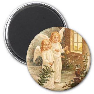 Vintage Weihnachtsengel Runder Magnet 5,7 Cm