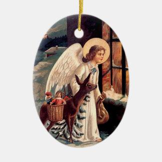 Vintage Weihnachtsengels-Oval-Verzierung Keramik Ornament