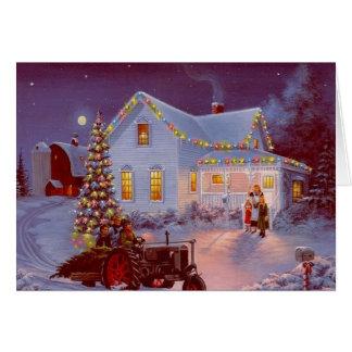 Vintage Weihnachtsfamilien-Szene Grußkarte