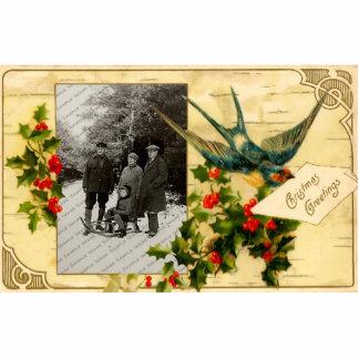 Vintage WeihnachtsFoto-Skulptur-Verzierung
