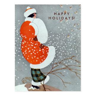 Vintage Weihnachtsfrau im roten Mantel mit Vögeln Postkarte