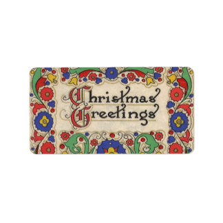 Vintage Weihnachtsgrüße mit dekorativer Grenze Adressaufkleber