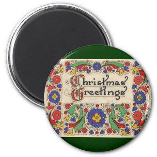 Vintage Weihnachtsgrüße mit dekorativer Grenze Runder Magnet 5,7 Cm