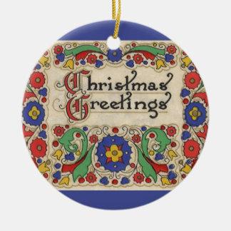 Vintage Weihnachtsgrüße mit dekorativer Grenze Rundes Keramik Ornament
