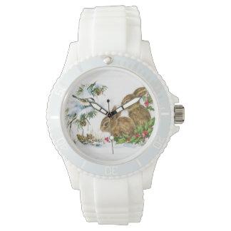 Vintage Weihnachtshäschen Armbanduhr