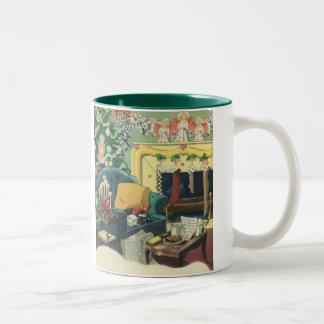 Vintage Weihnachtshaustiere im Wohnzimmer Zweifarbige Tasse