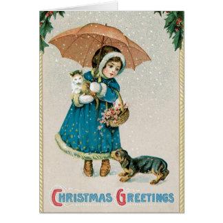 Vintage Weihnachtskarte - entzückende Haustiere Karte