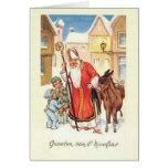Vintage Weihnachtskarte Holländer-Sankt Nikolaus