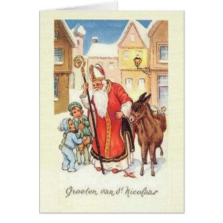 Vintage Weihnachtskarte Holländer-Sankt Nikolaus Karte