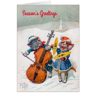 Vintage Weihnachtskarte, Katzen Arthurs Thiele Karte