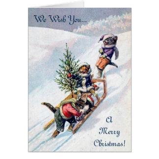 Vintage Weihnachtskarte, Katzen u. Weihnachtsbaum Karte