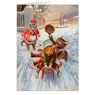 Vintage Weihnachtskarte, Katzensleigh-Fahrt Karte
