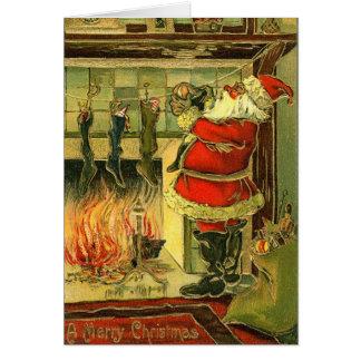 Vintage Weihnachtskarte - Sankt, Strümpfe Karte