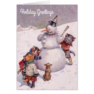 Vintage Weihnachtskarte, -Snowman u. -katzen Grußkarte