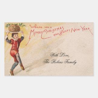 Vintage Weihnachtskarten-Torten-niedlicher Rechteckiger Aufkleber