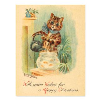 Vintage Weihnachtskätzchen-Postkarte Postkarte
