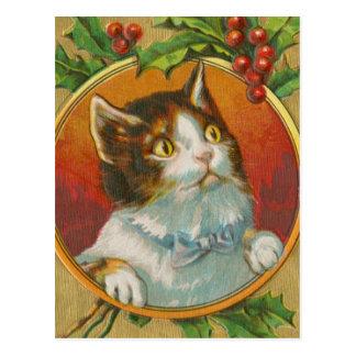 Vintage Weihnachtskatze Postkarte