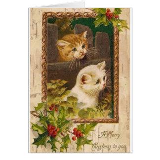 Vintage Weihnachtskatzen-Gruß-Karte Karte