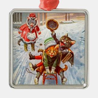 Vintage Weihnachtskatzen-Verzierung Silbernes Ornament