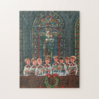 Vintage Weihnachtskinder, die Chor in der Kirche Puzzle
