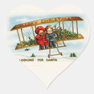 Vintage Weihnachtskinder, die nach Sankt suchen Herz Aufkleber