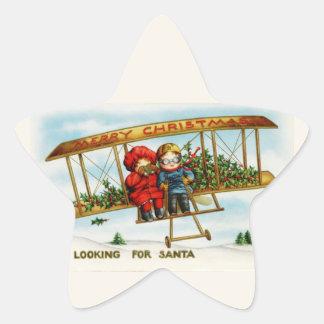 Vintage Weihnachtskinder, die nach Sankt suchen Stern Aufkleber