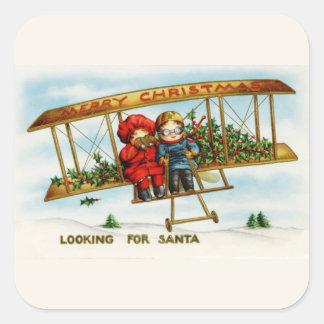Vintage Weihnachtskinder, die nach Sankt suchen Sticker