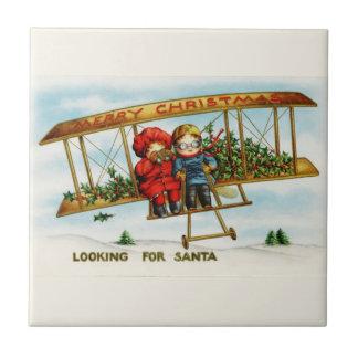 Vintage Weihnachtskinder, die nach Sankt suchen Keramikfliesen