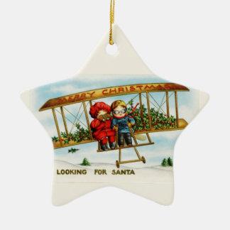 Vintage Weihnachtskinder, die nach Sankt suchen Weinachtsornamente