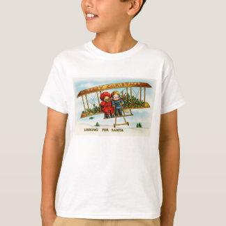 Vintage Weihnachtskinder, die nach Sankt suchen T-Shirt