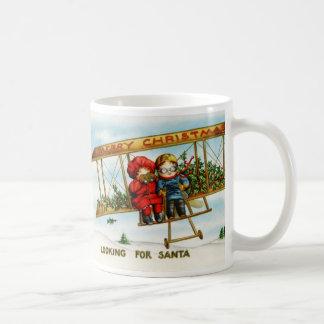 Vintage Weihnachtskinder, die nach Sankt suchen Tee Tassen