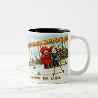 Vintage Weihnachtskinder, die nach Sankt suchen Tasse