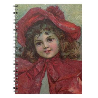 Vintage Weihnachtskindkunst-rotes viktorianisches Notizblock