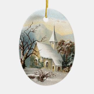 Vintage Weihnachtskirchenverzierung Keramik Ornament