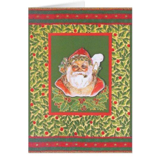 """""""Vintage-Weihnachtsmann mit Ilex"""", rot-grün Karte"""