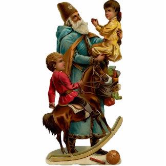 Vintage Weihnachtsmann-Skulptur-Verzierung Fotoausschnitt
