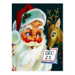 Vintage Weihnachtsmann- u. Ren-Weihnachtspostkarte Postkarten