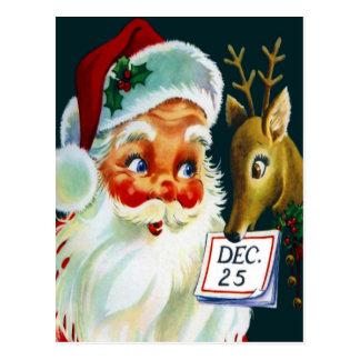 Vintage Weihnachtsmann- u. Ren-Weihnachtspostkarte Postkarte