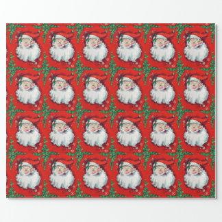 Vintage Weihnachtsmann-Verpackungs-Papier-Grüntöne Geschenkpapier