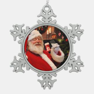 Vintage Weihnachtsmann-Weihnachtsbaumverzierung Schneeflocken Zinn-Ornament