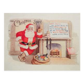 Vintage Weihnachtsmann-Weihnachtsgeist-Postkarte Postkarte