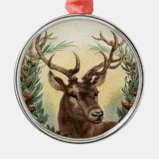 Vintage Weihnachtsrotwild Rundes Silberfarbenes Ornament