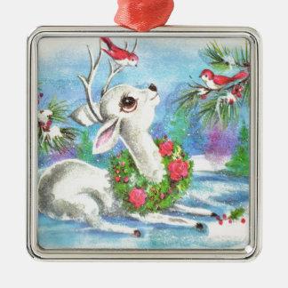 Vintage Weihnachtsrotwild und -vögel Silbernes Ornament