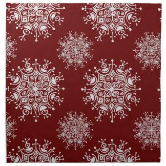 Vintage Weihnachtsschneeflocke-rotes Stoffserviette