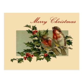Vintage Weihnachtssingvögel und Postkarten