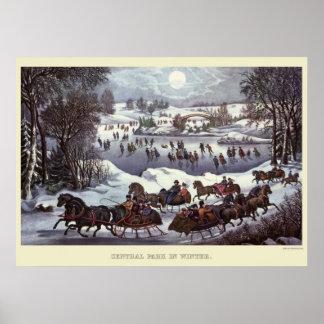 Vintage WeihnachtsSleighs, Central Park im Winter Poster