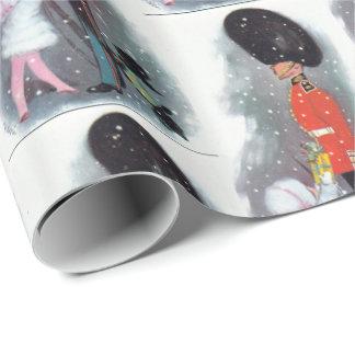 Vintage Weihnachtssoldat- und -kinderverpackung Geschenkpapier