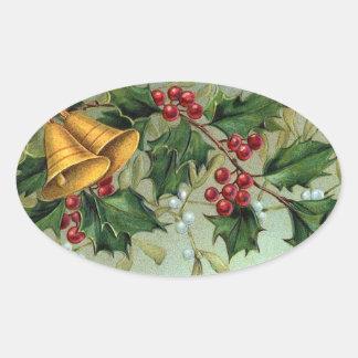 Vintage Weihnachtsstechpalmen-Beeren - Aufkleber
