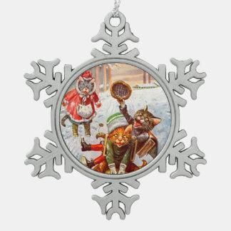 Vintage Weihnachtsverzierung, Katzen Arthurs Schneeflocken Zinn-Ornament