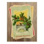 Vintage Weihnachtsvögel w/Holly u. Windmühle auf H Postkarte